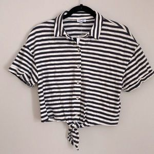 SPLENDID Navy/White Nautical Tie Front Crop Top XS
